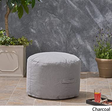 Christopher Knight Home 307995 Crystal Cay Outdoor Water Resistant 2' Ottoman Pouf, Charcoal