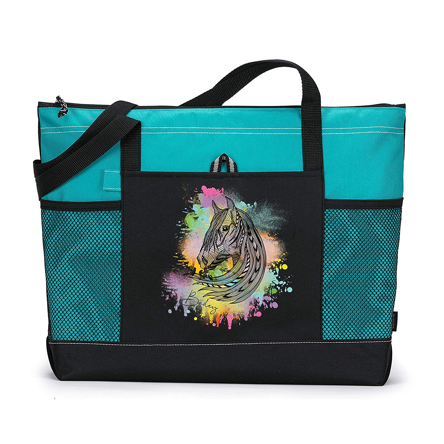 Hand Drawn Horse Head Personalized Printed Mesh with trend rank Tote Po Baltimore Mall Bag