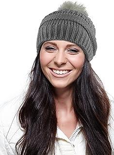 PASKMLNA Chunky Cable Knit Beanie Hat w/Faux Fur Pom Pom – Winter Soft Stretch Cap Hat