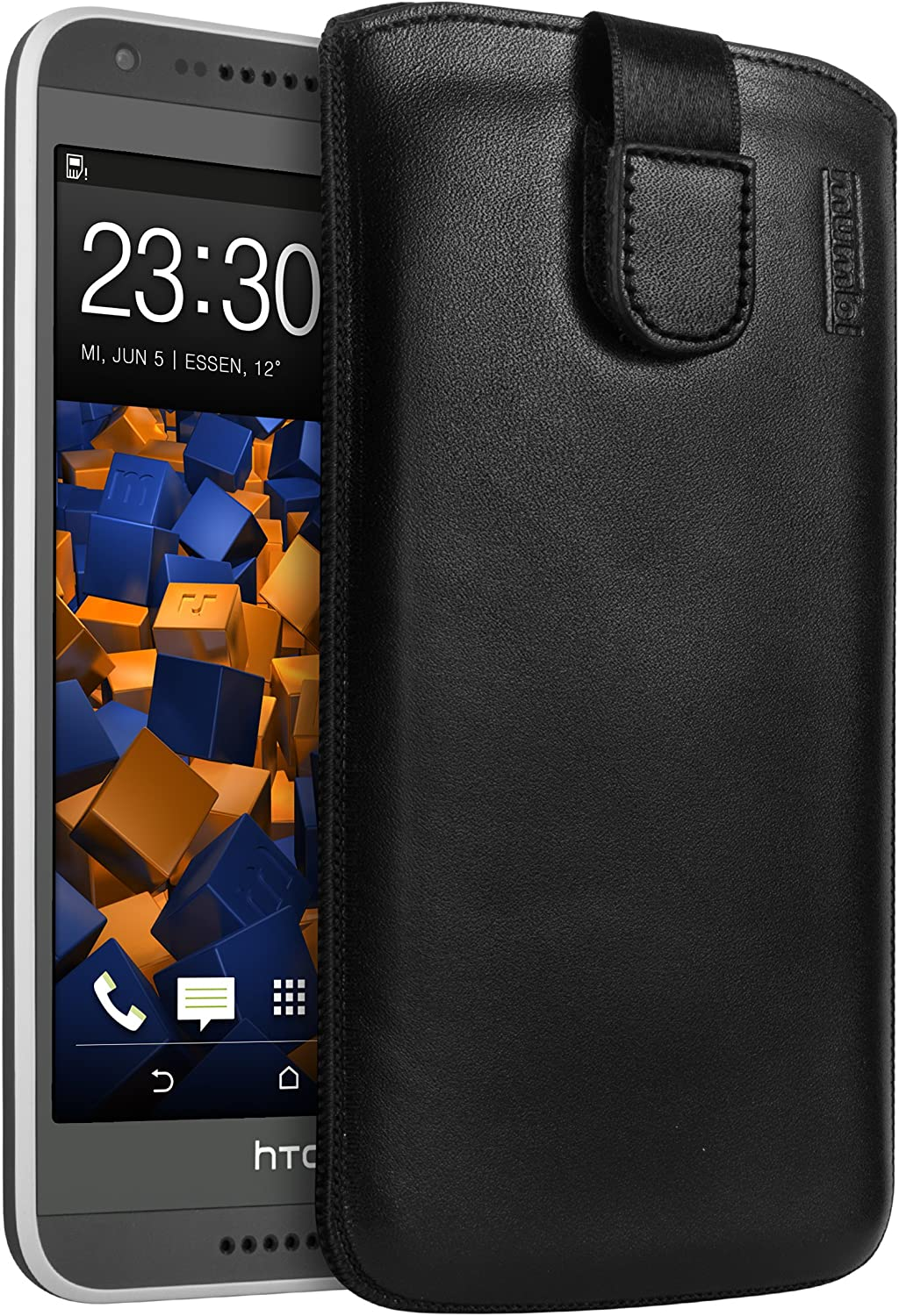 Fort Seattle Mall Worth Mall mumbi Genuine Leather Case with Flap D HTC Pull-Up Strap and for