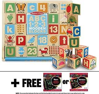 Melissa & Doug ABC & 123 Wooden Blocks & 1 Scratch Art Mini-Pad Bundle (02253)