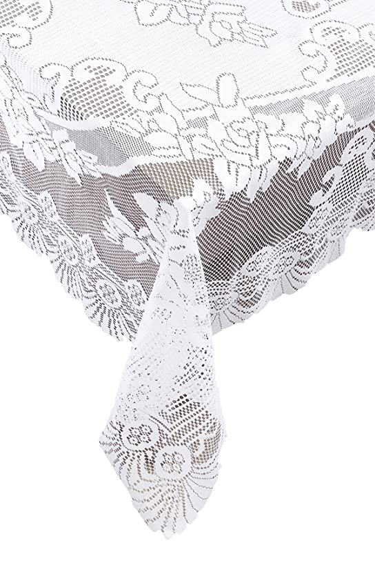 Ritz 100% Polyester Easy Care Linen Lace Tablecloth, Oblong Rectangle, 53 by 73-inch (135-cm by 185-cm), White Floral