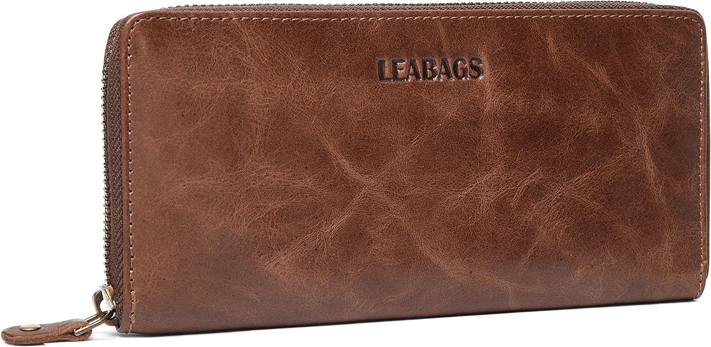 LEABAGS Florenz Genuine Buffalo Leather Womens Zipper Clutch Wallet  CrazyVinkat