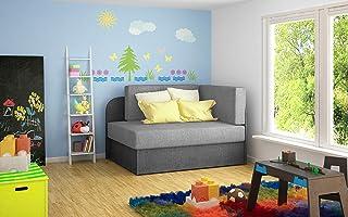 zitsbank voor woonkamer, slaapbank, fauteuil met slaapfunctie, moderne bank - 75x73x60cm,73x166 cm -RAISA (Donkergrijs+Khaki)