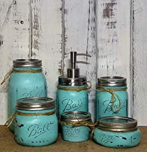 Custom 4, 5 or 6 Piece Painted Mason Jar Bathroom Set with Soap Dispenser Lid – Bathroom Accessories – Rustic Farmhouse Decor – Country Chic Decor – Available in 20 Colors – Shown in Sea Blue