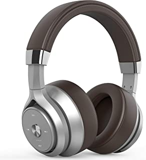 Picun P28S Bluetooth Headphones Over Ear 40 Hrs Playtime, CSR EQ Bass Dual Driver HiFi Stereo Wireless Headphones with HD Mic, Battery Indicator, Comfy Protein Earmuff for Gym Cellphone TV PC (Brown)