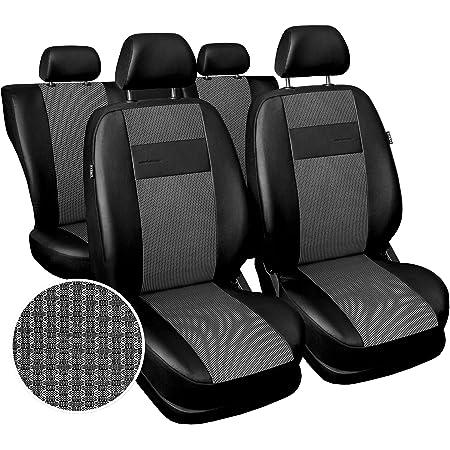 Carpendo Sitzbezüge Auto Set Autositzbezüge Schonbezüge Vordersitze Und Rücksitze Airbag Geeignet Schwarz Hellgrau Exclusive E3 Auto