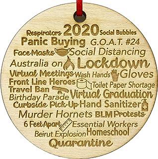 !RAKRISA Quarantine Christmas Ornament 2020 | Engraved Wood 2020 Events Rustic Christmas Ornaments Quarantine Gift for Fri...