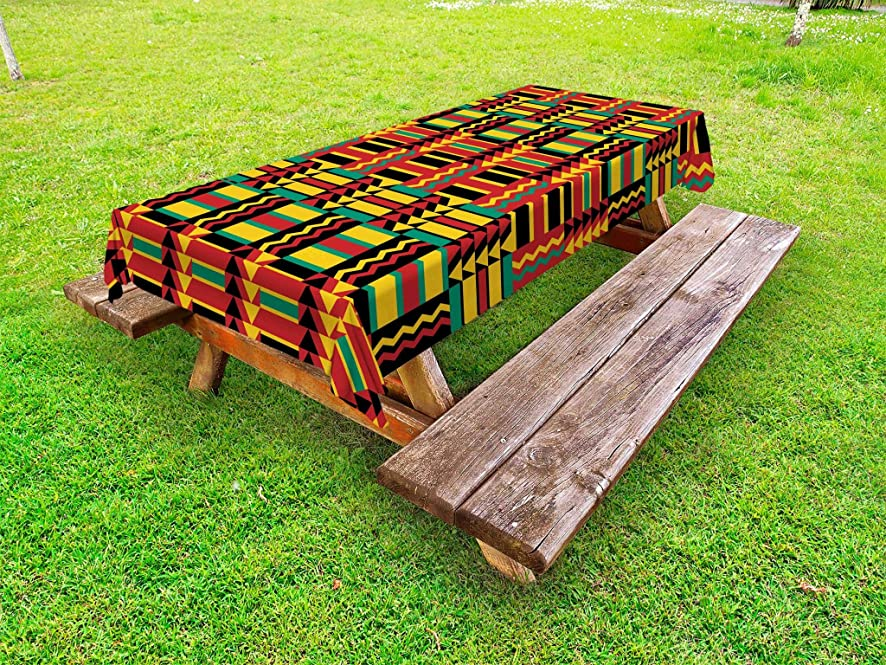Ambesonne Kente Pattern Outdoor Tablecloth, Ethnic Pattern with Stripes Triangles and Zigzags Uganda Zimbabwe Nigeria, Decorative Washable Picnic Table Cloth, 58 X 84 Inches, Multicolor