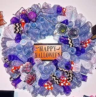halloween spider rose curly wreath