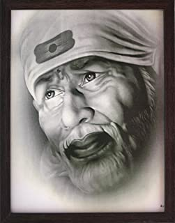 Handicraft Store Sai Baba Looking with White Beard in This White Picture, Sai Baba Poster Picture with Frame, Must for Home Decor/Offices and Gift Purpose.