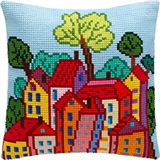 Italian Town. Cross Stitch Kit. Throw Pillow Case 16�16 Inches. Premium European Quality, Extra Stiff Canvas