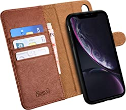 iPhone XR Wallet Case - Premium PU Leather case for iPhone XR – Best NinwoO Mobile Cell Phone Case - Folio Flip Cover with Kickstand Credit and ID Cards Slots for Apple iPhone XR 6.1 Inch – Brown