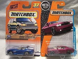 Matchbox Blue Dodge Viper RT/10 #37 & Purple Dodge Challenger SRT8 Die Cast 1/64 Scale 2 Car Bundle!