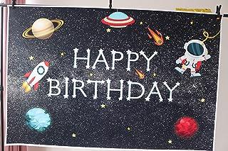 DANIU Espacio Galaxy Estrellas Fondo Dibujos Animados Bebé Astronauta Cohete Universo Espacio Estrellado Fiesta de cumpleaños Telón de Fondo Niño Niña Bebé Duchas Pastel Mesa Decoración Banner7x5FT