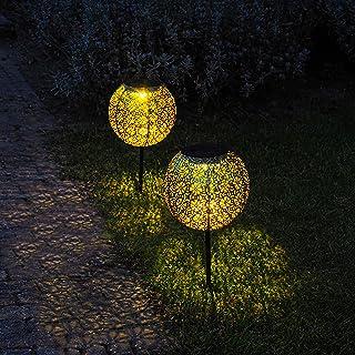 Gadgy Solarne kule   Zestaw 2 zewnętrznych lamp solarnych LED   Dekoracja ścieżki ogrodowej i patio   Złoty i czarny metal...