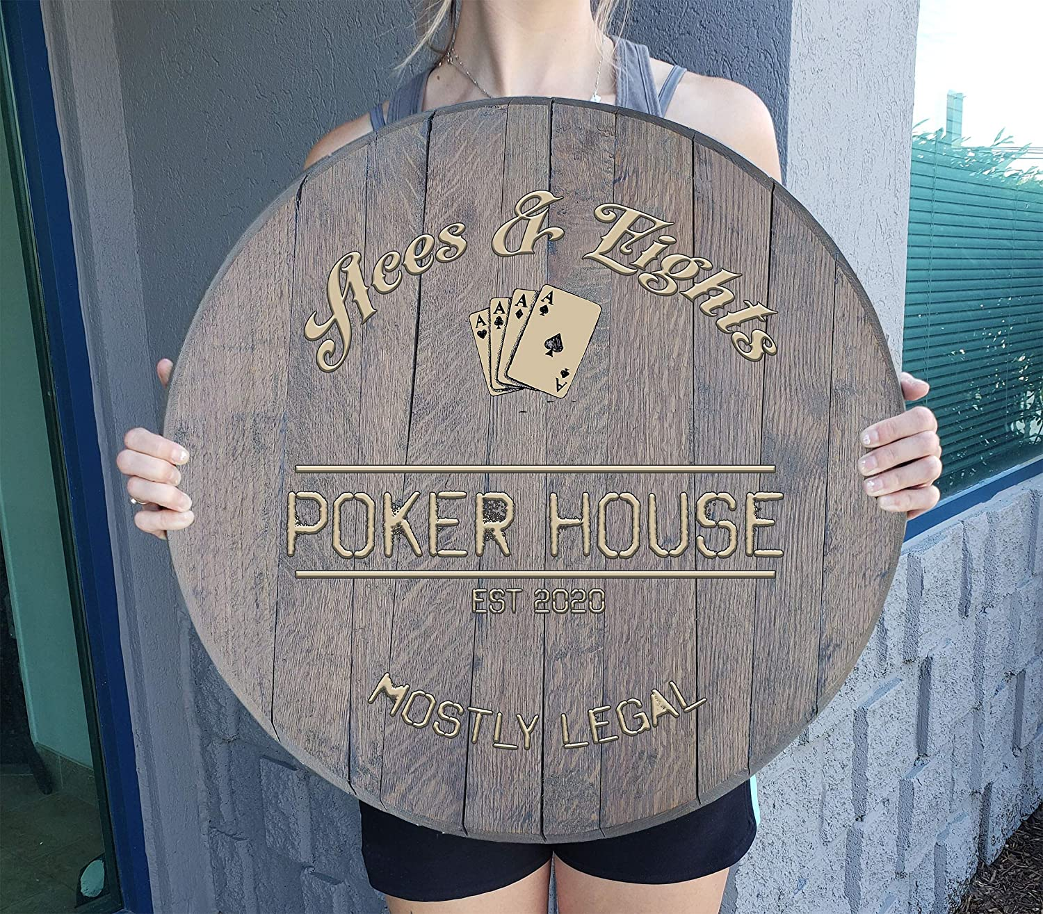 CBW Personalized Whiskey Barrel Poker Room Sacramento Mall Signs Brand new Decor and C for