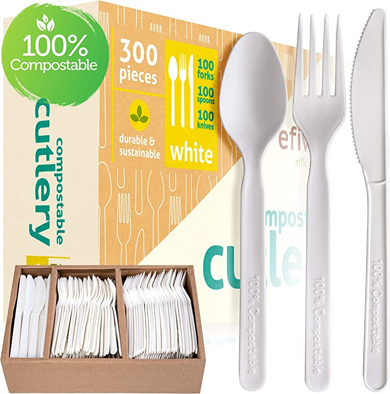 Compostable Cutlery Set 100 Biodegradable And Disposable Eco Friendly Alternative To Silverware And Traditional Plastic Utensils Pack Of 300 Incl Knives Forks And Spoons And Storage Tray