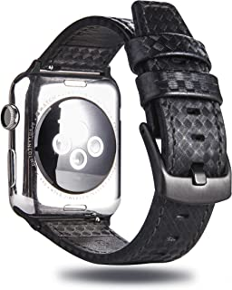 MeShow TCSHOW 44mm 42mm Genuine Leather Carbon Fiber Embossed Pattern with Stitching Strap Wrist Band with Secure Metal Clasp Buckle Compatible for Apple Watch Series 4(44mm)/Series 3/2/1(42mm)