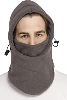 Snugg Fit 6 in 1 Polar Thermal Fleece Balaclava Hood Ski Bike Wind Stopper Face Mask Neck Cover (Grey, Free Size)
