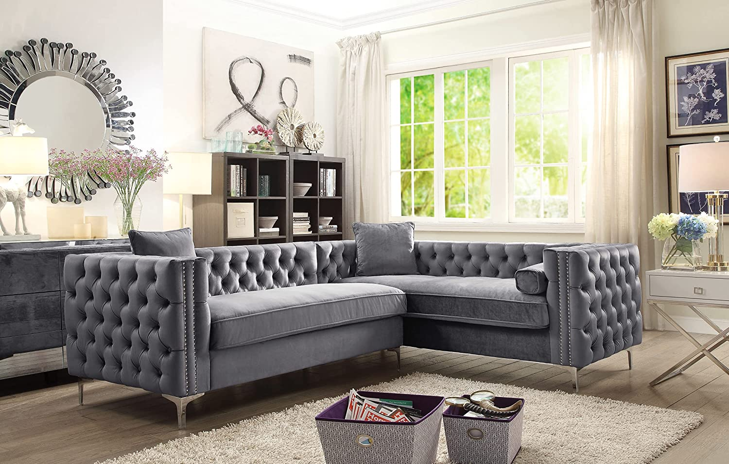 Iconic A surprise price is realized Home Mozart Year-end annual account Elegant Velvet Deeply Tufted with Modern Silv