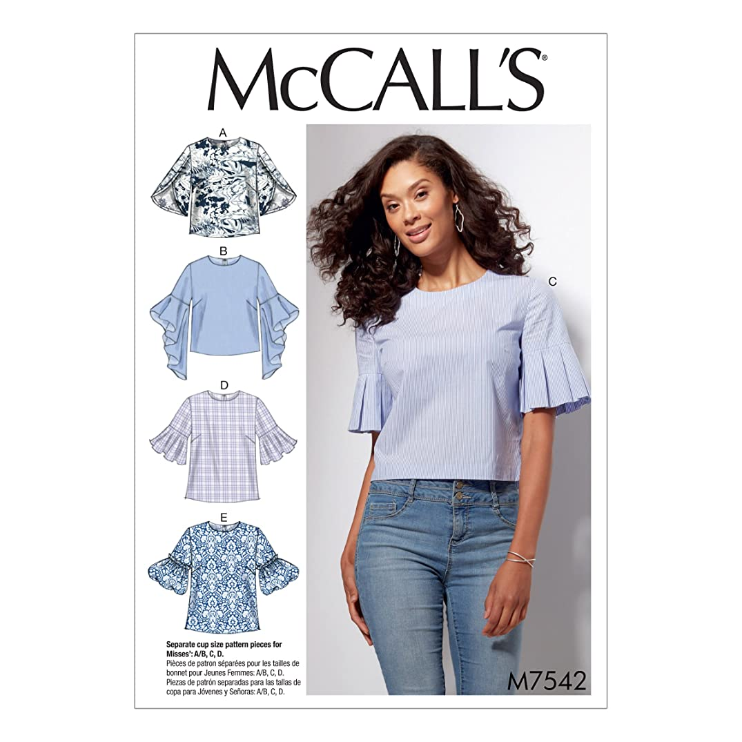 McCall's M7542A50 Misses' Tops with Trumpet, Tulip, Pleated or Bubble Sleeves 6-8-10-12-14