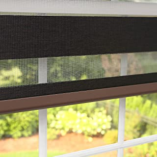 Best Home Fashion Premium Duo Wood Look Roller Window Shade - Charcoal - 28