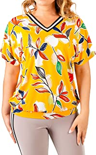 Lavira Women's Plus Size Blouse Katty with Print and Short Sleeve, Sizes 12-22, Colors: Yellow, Blue
