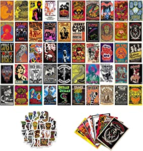 Vintage Rock Band Collage Kit for Wall Aesthetic 50pcs Cool Music Album Cover Stickers 70s Queen Poster Grunge Room Decor Teen Boys Gifts