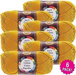 Lion Brand 98190 24/7 Cotton Yarn-6/Pk-Goldenrod, 6/Pk Goldenrod 6 Pack