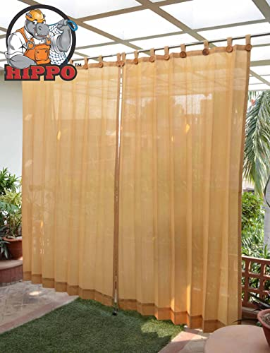 HIPPO - Decorative Fabric - Loop Curtains - 85% Sun Blockage - Beige 4.5 FT X 7.5 FT - Pack of 2 pcs