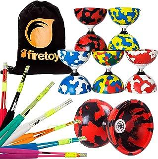 Juggle Dream Jester Bearing Diabolo Set + Superglass Fibreglass Diablo Sticks & String with Firetoys Bag! Huge Color Selection