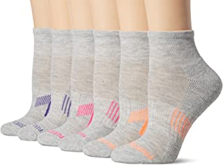 Fruit of the Loom Everyday Active Ankle Socks-6 Pair Pack, Grey, Pink, Yellow, Purple, Women's Shoe Size: 4-10