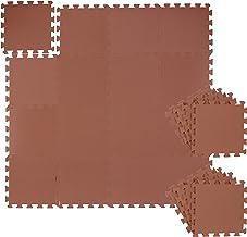 Relaxdays Vloerbeschermingsmat, 24-delig, BxD: 31,5x31,5 cm, waterbestendig, geluiddempend, schuim, puzzelmat, bruin