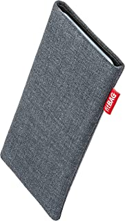 fitBAG Jive Gray Custom Tailored Sleeve for Apple iPhone X/Xs | Made in Germany | Fine Suit Fabric Pouch case Cover with Microfibre Lining for Display Cleaning