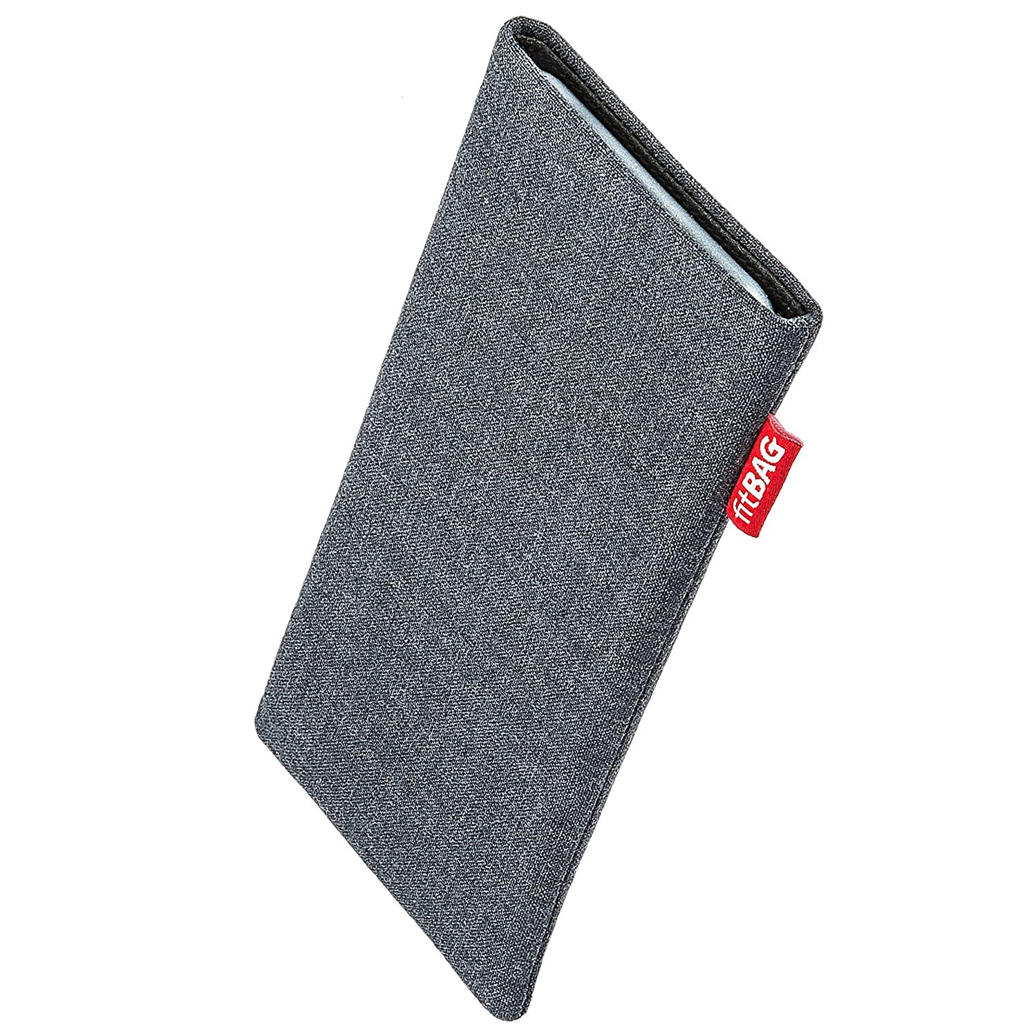 fitBAG Jive Gray Custom Tailored Sleeve for Samsung Galaxy S10+ / S10 Plus (SM-G975F)   Made in Germany   Fine Suit Fabric Pouch case Cover with Microfibre Lining for Display Cleaning