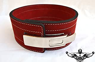 Quest Athletics Powerlifting Belt with Lever Buckle (Red) - 10mm Weightlifting Crossfit Strongman Lifting Belt