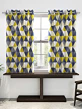 Divine Casa Expression Geometric Window Curtains for Living Room/Bedroom, 47 x 60 inch (5 Feet) - Yellow and Grey | 2 Panels