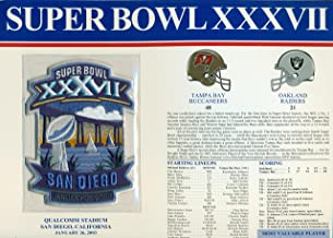 Super Bowl XXXVII 37 Official Patch Tampa Bay Buccaneers vs Oakland Raiders at Qualcomm Stadium, San Diego, CA