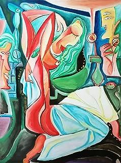 """Arte moderno desnudo Pintura al óleo Lienzo grande 120cm""""NUDO ROJO"""" Decoración de la pared Obra de DOBOS"""