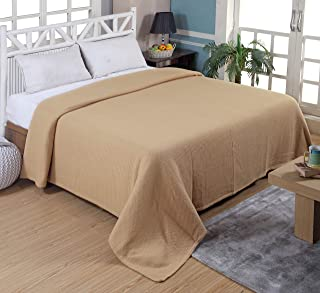 Tex Trend 100% Cotton Blankets Queen Size, Beige Color - Soft Premium Right Weight Breathable Cotton Thermal Blankets Waffle Weave Design - Provides Comfort and Warmth for Years