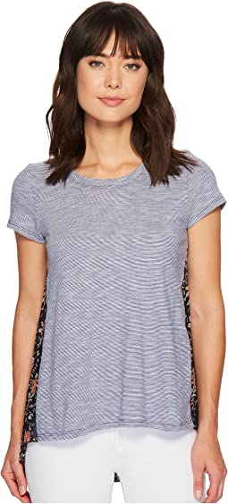 Micro Stripe Short Sleeve T-Shirt w/ Pleated Contrast Back Panel