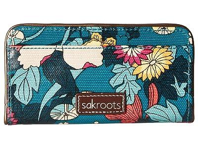 Sakroots Artist Circle Slim Wallet (Teal Flower Power) Wallet Handbags