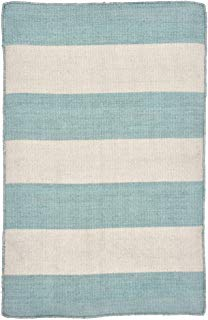 Liora Manne SRN23630293 Sorrento Rugby Stripe Indoor/Outdoor Reversible Rug, 2' X 3', Water Blue and White