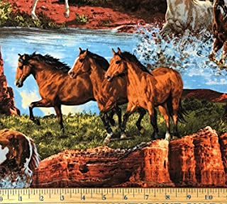 """1 Yard - Wild Horses on a Western Scenic Cotton Fabric (Great for Quilting, Sewing, Craft Projects, Throw Pillows & More) 1 Yard X 44"""""""