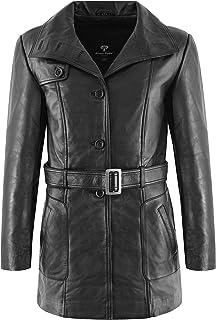 Carrie CH Hoxton Trench Coat da Donna in Vera Pelle Giacca Nera di Media Lunghezza con Cintura Classica L-5107