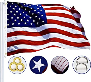 G128 - American Flag | 5x8 feet | Heavy Duty Spun Polyester 220GSM - Embroidered Stars, Sewn Stripes, Tough, Durable, Indoor/Outdoor, Vibrant Colors