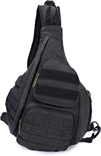 AOPUOP Canves Sling Chest Bag Multifunctional Canvas Bag Waterproof and Antitheft Travel Backpack Portable USB Bags(Black)