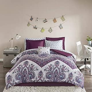 Intelligent Design Tulay Comforter Bag Reversible Solid Chevron Damask Floral Flower Boho Print Embroidered Sham with Animal Sheets Soft Microfiber Complete Bedding Set, Full, Purple