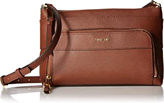 b3d9abffba999 Calvin Klein Lily Saffiano Leather Top Zip Crossbody